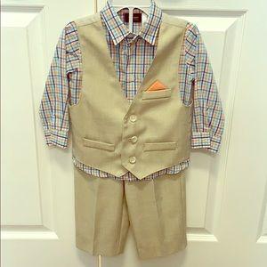Holiday Editions Boys 18M Khaki Vest and Pants